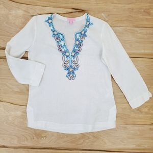 Lilly Pulitzer White Embroidered V Neck Tunic Top
